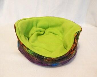 Cuddle Bed , Cuddle Cozy,Purple Abstract W/ Green  Fleece  Galnea Pig, Hedgehog, Ferret