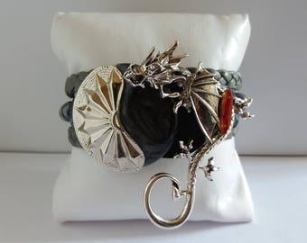 """""""The Dragon"""" unique women bracelet, handmade"""
