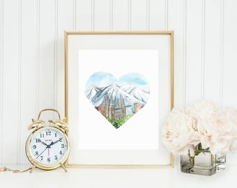 Salt Lake City Love Art Print, Salt Lake City Temple Art