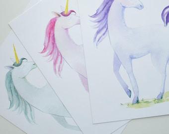 Unicorn Art Print, hand painted art print, Pink Unicorn, Sea Blue Unicorn, Purple Unicorn