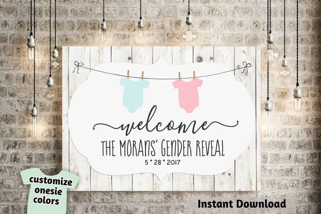 rustic baby shower gender reveal welcome sign printable template poster banner diy pdf. Black Bedroom Furniture Sets. Home Design Ideas