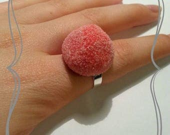 "Adjustable ring ""Sweet Strawberry red"""