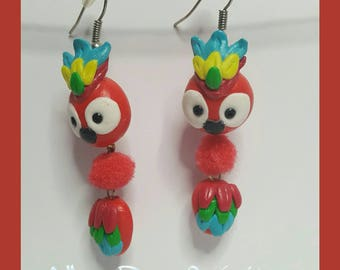 "Earrings in polymer clay ""colorful parrot"""