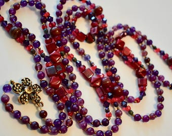 Amethyst and Czech Glass Beaded Necklace