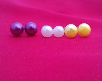 Coloured Half Pearl Stud Earrings, White Wedding Accessories, Purple Jewellery, Yellow Studs, Set Of Small Earrings, Simple Jewelry Fashion