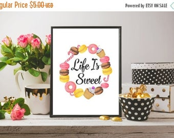 SALE Life Is Sweet Print Macaron Printable Kitchen Wall Art Food Wall Art Sweets Print Kitchen Art Dessert Print Watercolor Wall Art
