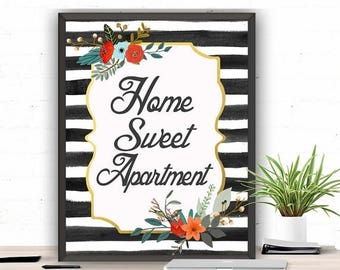 SALE Apartment Gift, Instant Download, Home Sweet Apartment, Apartment Wall Art, Floral Home Wall Art, Dorm Decor Apartment, Our First Apart