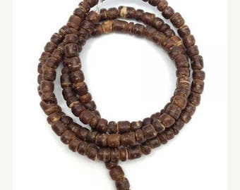 SALE 15% OFF 1 strand coconut pearls, natural Brown, 3mm, Pukalite, 150 pieces, coconut slices, slices, beads, coconut, beads, discs, slices