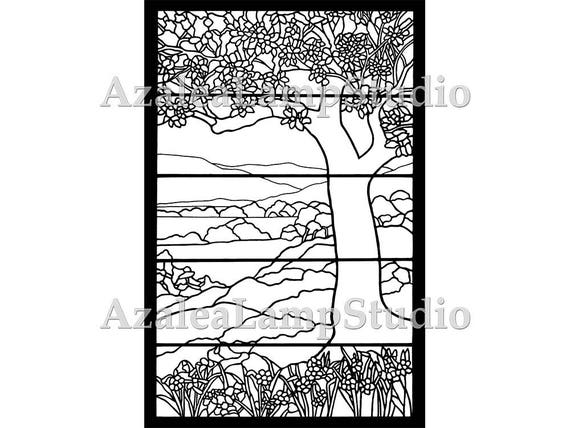 Stained Glass Tree, Stained Glass Patterns, Pattern Designs,  Stained Glass Template, Tiffany Stained Glass, Tiffany Window Insert,