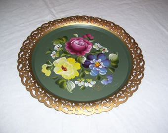 Nashco Tray  Handpainted Metal Tray  Tole Tray  Floral Tray  Van Signed Nashco Vintage