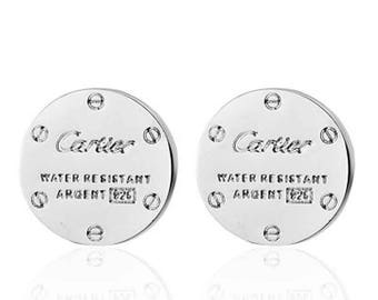 CARTIER Cufflinks In White Gold Plated