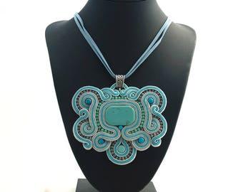 Blue Soutache Pendant, Geometric Necklace, Rustic Necklace, Soutache Jewelry