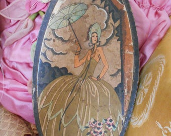 Beautiful French Art Deco Candy/Boudoir/Vanity/Chocolate Box with Lady and Parasol