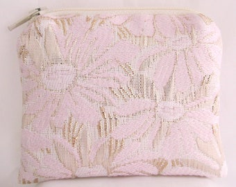 Small Pink and Gold Floral Print Brocade and Satin Coinpurse Coin Purse Pendulum Crystals Zipper Bag Pouch Fancy