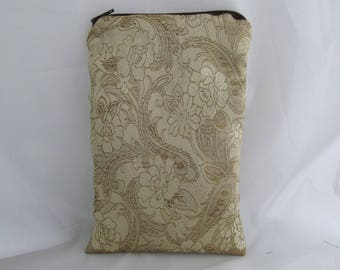Brocade Tarot Card Bag Gold and Brown Floral with Satin Lining, Zipper Dice Makeup Pouch Fancy
