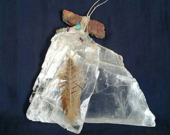 Raw Selenite // Crystal Window Ornament // Tribal Hanging White Crystal // Gift for Him // Petrified Wood Pendant // Crystal Protection
