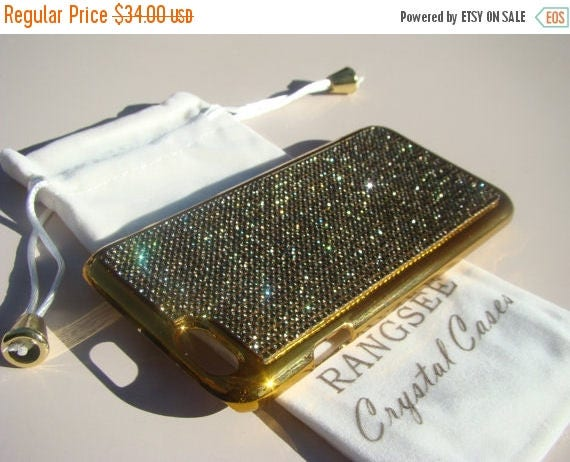 """Sale iPhone 6 / 6s Case Black Diamond Rhinstone Crystals on iPhone 6 / 6s Gold Chrome Case. """" Gold Edition"""" , Genuine Rangsee Crystal Cases."""