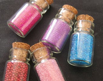 5 Mix Colour Glass Tooth Fairy / Fairy Dust WISHING Bottle / Vials with Cork Stoppers. Great Gift / Surprise