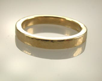 Solid 14K Yellow Gold Hammered Ring, Gold Band, Wedding Band, Hammered Satin Finish Band