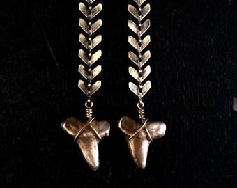 Sharks Tooth Chevron Earrings