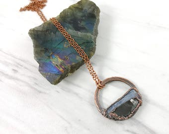 Kyanite and Shungite Necklace, Raw Stone Pendant, Raw Crystal, Electroformed Pendant, Blue, Black Gemstone, Healing Crystal, Copper Necklace