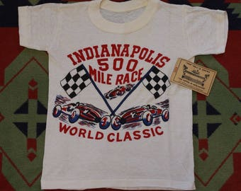 RARE 1950's 50s INDY 500 Indianapolis Motor Speedway Childs T-Shirt & Track Tour tee