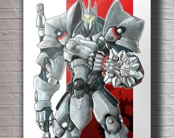 Overwatch Reinhardt A4 Original Art Print