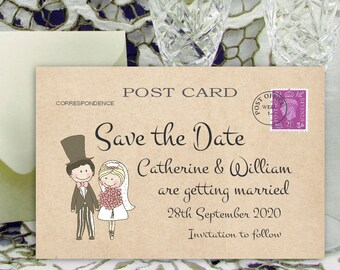 Personalised Save the Date Cards 6x4 inch / 15x10cm Cute Couple M Vintage Shabby Chic Wedding Invitations with Envelopes