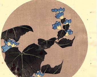 """Japanese antique woodblock print, Ito Jakuchu, """"Empress tree, from Jakuchu gafu"""""""