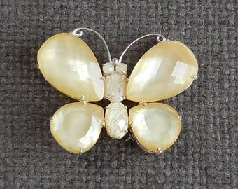 Sweet BUTTERFLY Vintage BROOCH...Figural INSECT Jewellery...Lemon Sorbet Butterfly Foil Inclusions...Cute Wildlife Creature Chic!
