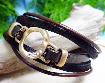 Matte Gold Circle on Dark Brown Leather Banded Bracelet