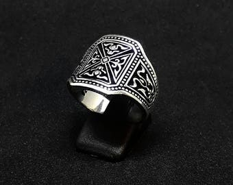 mens statment silver ring