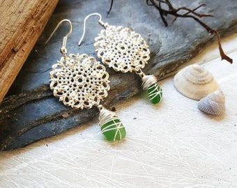 Boho Mandala Earrings with Irish Seaglass