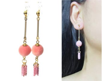 Clip-ons, Pink Velvet Ball Chain Tassel Clip On Earrings |32A| Gold Bar Long Clip Earrings Dangle Clip On earrings Fun Festive Clip Earrings