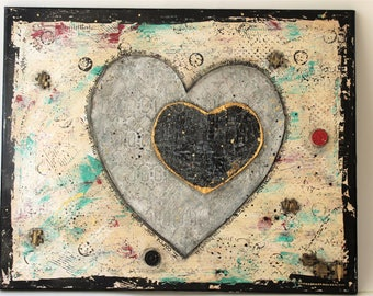 Mixed Media Canvas Two Hearts,Mixed Media Art, wall art, home decor, painting, handmade, one of a kind, art, mixed media collage, Love Me