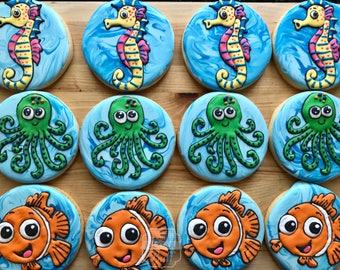 Under The Sea Decorated Cookies - One Dozen Ocean Creature Cookies - Fish, Seahorse, Octopus