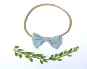 Dainty Raw Edged Blue Bow Headband