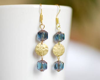 Drops blue and gold - earrings for women