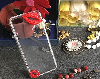 Sexy Girly Lipsticks Bling Sparkles Cute Sparkly Chic Gems Rhinestones Diamonds Gemstones Fashion Lovely Hard Cover Case for Mobile Phones