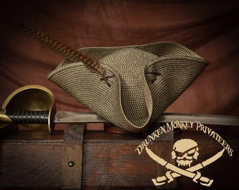 Straw Pirate Tricorn Hat, Pirate Hat, Pirate Clothing