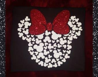 Mini Mickey/Minnie Mouse Heads, GLITTER T-shirt