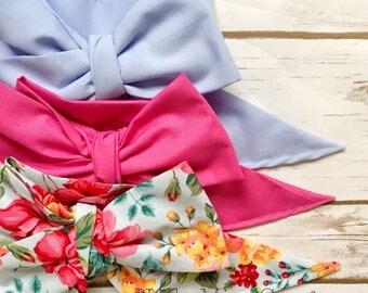 Gorgeous Wrap Trio (3 Gorgeous Wraps)-Periwinkle, Pink Taffy & Pink Peony Gorgeous Wraps; headwraps; fabric head wraps