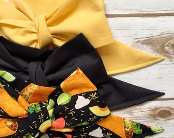 Gorgeous Wrap Trio (3 Gorgeous Wraps)- Vintage Yellow, Noir & Taco Love Gorgeous Wraps; headwraps; fabric head wraps; bows