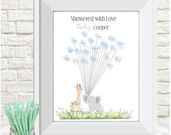 Baby shower fingerprint tree, Elephant, Giraffe, personalised,guest book,christening gift, nursery decor, A4 print, baby keepsake