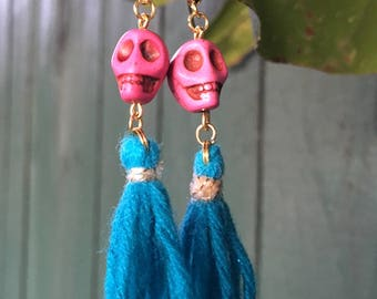 Pink Sugar Skull Blue Tassel Earrings, Rayon Tassel Earrings, Dangle & Drop Earrings, Skull Earrings, Valentine's Day Gifts