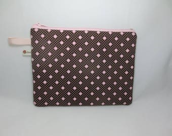 Small Brown and pink dots - cosmetic case, pouch range handbag, school, documents or your needs