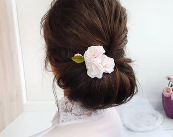 Sakura hair clip pink Sakura wedding hair flower mother's day gift flower brooch Sakura barrette hair clip jewelry girlfriend gift brooch
