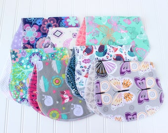 Baby Girl Burp Cloths - Set of 7 - Baby Shower Gift - Baby Gift - Aztec - Woodland - Arrow