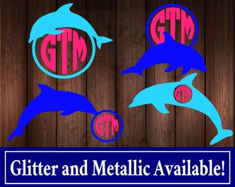 Personalized Dolphin Monogram Decal, Dolphin Sticker, Dolphin Decal for Yeti, Dolphin Car Decal, Glitter Dolphin Decal