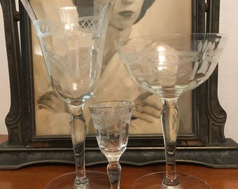 Vintage Stemware Set of Wine, Champagne and Cordial Etched Stemware